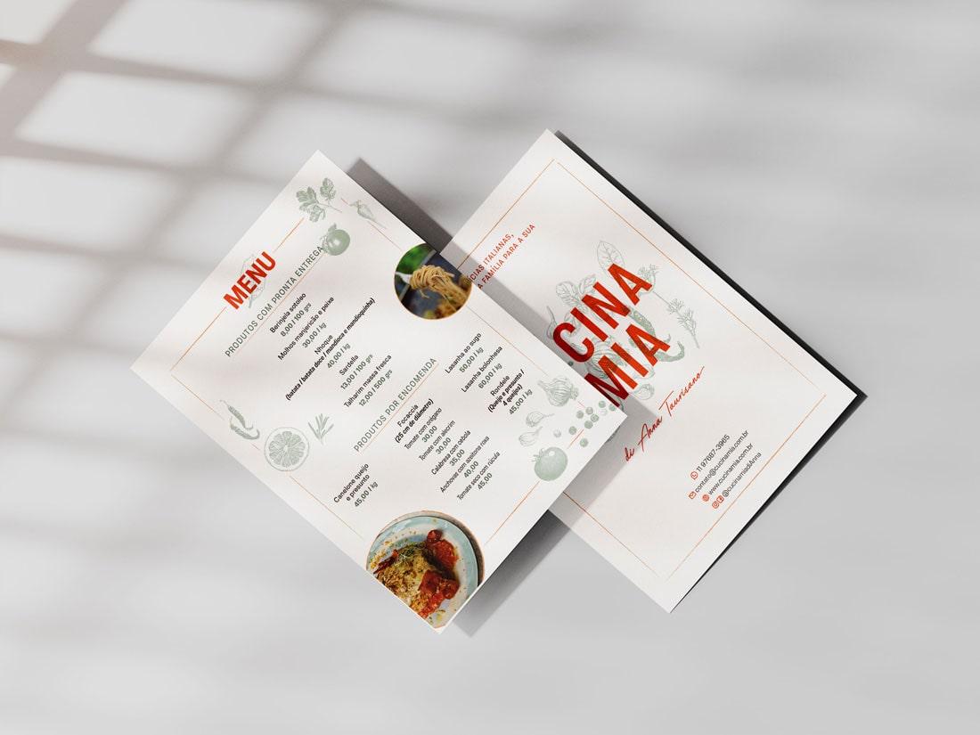 imagem do cardápio Cucina Mia frente e verso