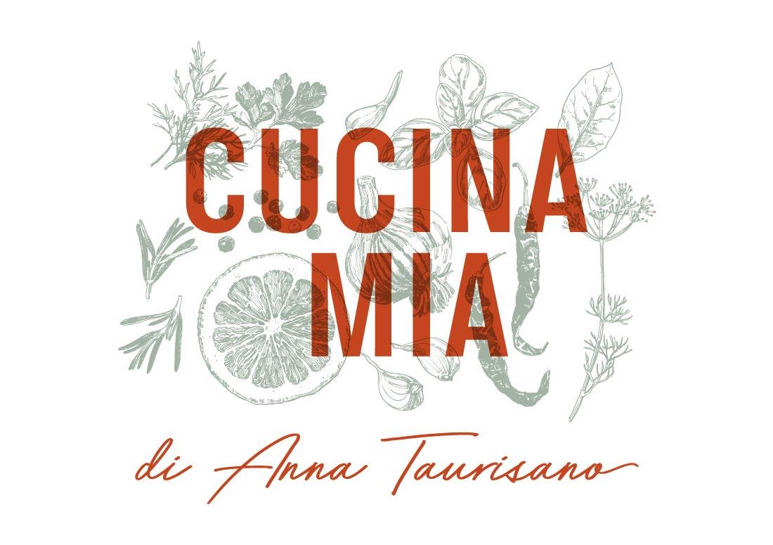 imagem do logo Cucina Mia aplicado dobre fundo de ilustrações