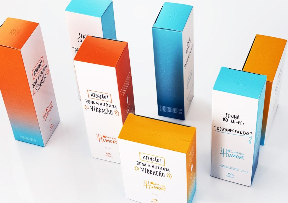Imagem de todas as embalagens da linha